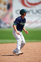 Vermont Lake Monsters first baseman Steven Pallares (14) leads off second base during a game against the Auburn Doubledays on July 13, 2016 at Falcon Park in Auburn, New York.  Auburn defeated Vermont 8-4.  (Mike Janes/Four Seam Images)