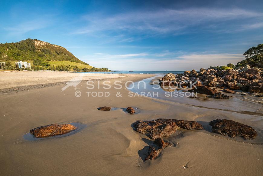 Early monrning, Mount Maunganui Beach, Tauranga, New Zealand - stock photo, canvas, fine art print