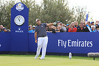 Patrick Reed (Team USA) on the 8th tee during Friday Fourball at the Ryder Cup, Le Golf National, Iles-de-France, France. 28/09/2018.<br /> Picture Thos Caffrey / Golffile.ie<br /> <br /> All photo usage must carry mandatory copyright credit (© Golffile | Thos Caffrey)