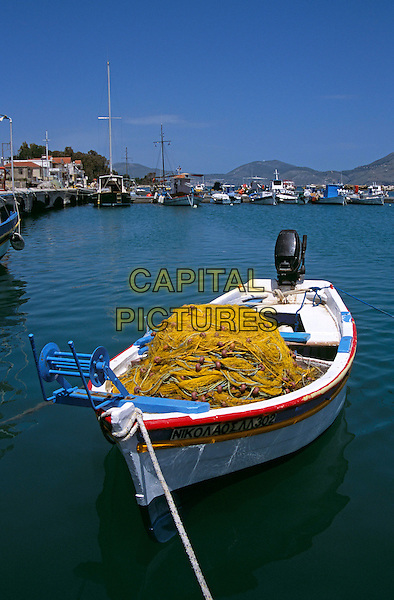 Fishing boat and nets, Lixouri Harbour, Lixouri, Kefalonia, Greece