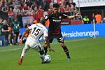 14.04.2018, BayArena, Leverkusen , GER, 1.FBL., Bayer 04 Leverkusen vs. Eintracht Frankfurt<br /> im Bild / picture shows: <br /> Benjamin Henrichs (Leverkusen #39), <br /> Jetro Willems (Frankfurt #15),  <br /> <br /> <br /> Foto &copy; nordphoto / Meuter