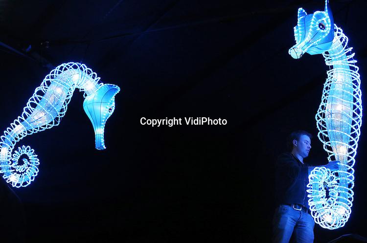 Foto: VidiPhoto<br /> <br /> ARNHEM - Medewerkers van Burgers' Zoo in Arnhem zijn dinsdag aan het werk met de aanleg van een nieuw kleurrijk lichtspektakel. Na het enorme succes van China Light in 2015 organiseert de Arnhemse dierentuin dit jaar Burgers&rsquo; Light. Van 5 tot en met 28 februari staat Burgers' in het teken van tientallen groepen lichtfiguren op een centrale route door de Bush, Desert en Ocean. Het park blijft in die periode tot 20.00 uur geopend. China Light met zo'n 100 verschillende lichtfiguren trok vorig jaar duizenden bezoekers extra. Burgers' Zoo hoopt dit jaar of een soortgelijke effect.