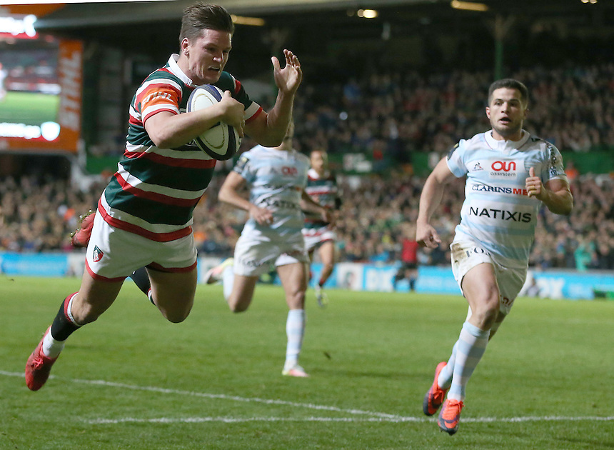 Leicester Tigers' Freddie Burns scores his sides second try<br /> <br /> Photographer Stephen White/CameraSport<br /> <br /> Rugby Champions Cup Pool 1 - Leicester Tigers v Racing 92 - Sunday 23rd October 2016 - Welford Road - Leicester<br /> <br /> World Copyright &copy; 2016 CameraSport. All rights reserved. 43 Linden Ave. Countesthorpe. Leicester. England. LE8 5PG - Tel: +44 (0) 116 277 4147 - admin@camerasport.com - www.camerasport.com