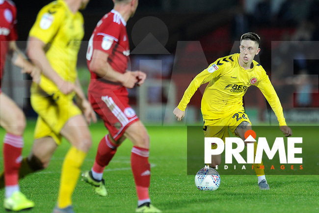 Ashley Hunter of Fleetwood Town controls the ball during the The Leasing.com Trophy match between Accrington Stanley and Fleetwood Town at the Fraser Eagle Stadium, Accrington, England on 3 September 2019. Photo by Greig Bertram / PRiME Media Images.