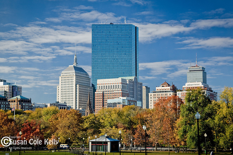 Fall foliage frames the office towers in the Back Bay, Boston, MA, USA