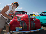 Rich Isely shines his 1939 Pontiac Silver Streak during the Hot August Nights Pre-Kickoff Party at the Bonanza Casino in Reno, Nevada on Sunday, August 6, 2017.