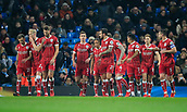 9th January 2018, Etihad Stadium, Manchester, England; Carabao Cup football, semi-final, 1st leg, Manchester City versus Bristol City; Bristol City players celebrate their goal in the 44th minute from the penalty spot