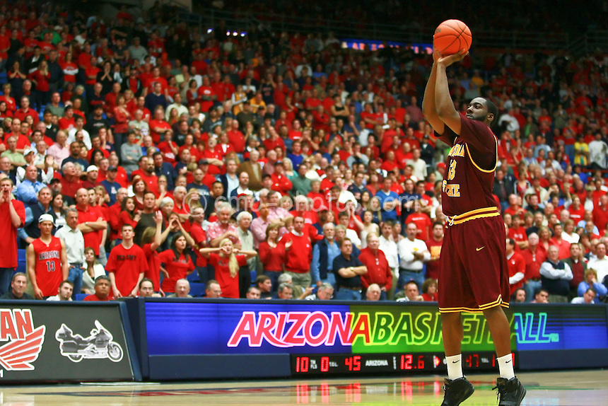 Jan 21, 2009; Tucson, AZ, USA; Arizona State Sun Devils guard James Harden (13) shoots a controversial technical free throw late in the second half of a game against the Arizona Wildcats at the McKale Center.  The Sun Devils won the game 53-47.