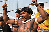 A Kuikuro warrior celebrates at his team's football match at the first ever International Indigenous Games, in the city of Palmas, Tocantins State, Brazil. Photo © Sue Cunningham, pictures@scphotographic.com 22nd October 2015