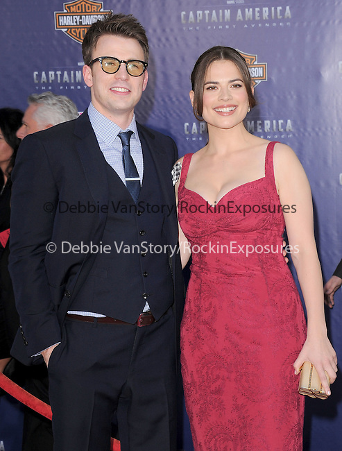 "Chris Evans and Hayley Atwell at The Marvel Studios Premiere of "" Captain America : The First Avenger ""  held at The El Capitan Theatre in Hollywood, California on July 19,2011                                                                               © 2011 DVS/Hollywood Press Agency"