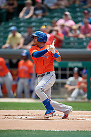 Syracuse Mets Ruben Tejada (1) at bat during an International League game against the Indianapolis Indians on July 17, 2019 at Victory Field in Indianapolis, Indiana.  Syracuse defeated Indianapolis 15-5  (Mike Janes/Four Seam Images)