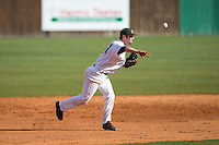 Charlotte 49ers third baseman Derek Gallello (41) makes a throw to first base against the Florida Atlantic Owls at Hayes Stadium on March 14, 2015 in Charlotte, North Carolina.  The Owls defeated the 49ers 8-3 in game one of a double header.  (Brian Westerholt/Four Seam Images)
