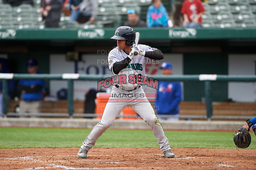 Cedar Rapids Kernels Gabriel Maciel (19) at bat during a Midwest League game against the South Bend Cubs at Four Winds Field on May 8, 2019 in South Bend, Indiana. South Bend defeated Cedar Rapids 2-1. (Zachary Lucy/Four Seam Images)