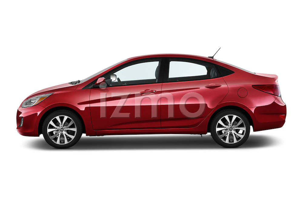Car Driver side profile view of a 2015 Hyundai Accent GLS 4-Door 6-Speed Automatic 2 Door Sedan Side View