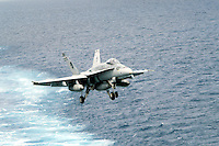 "- deck-landing of a F 18 ""Hornet"" fighter bomber aircraft on Roosevelt aircraft carrier....- appontaggio di un cacciabombardiere F 18 ""Hornet"" a bordo della portaerei Roosevelt  .."