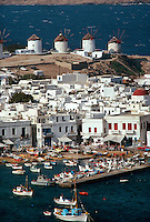 Overview of Mykonos town, the island of Mykonos, Cyclades, Greece
