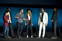 LAS VEGAS, NV - APRIL 24: (L-R) Director James Wan, actors Yahya Abdul-Mateen II, Patrick Wilson, Amber Heard, Will Arnett and Jason Momoa onstage during the Warner Bros. Pictures presentation at CinemaCon 2018 at The Colosseum at Caesars Palace on April 24, 2018 in Las Vegas, Nevada. (Photo by Frank Micelotta/PictureGroup)
