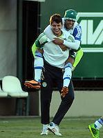 SÃO PAULO,SP, 29 julho 2013 -  Leandro brinca  durante treino do Palmeiras no CT da Barra funda  na zona oeste de Sao Paulo, onde a equipe a equipe se prepara para enfrentar o Icasa em partida valida pela serie B do campeonato brasileiro. FOTO ALAN MORICI - BRAZIL FOTO PRESS