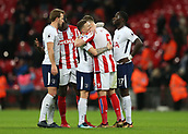 9th December 2017, Wembley Stadium, London England; EPL Premier League football, Tottenham Hotspur versus Stoke City; Kieran Trippier of Tottenham Hotspur hugs Kevin Wimmer of Stoke City who was emotionally upset after the final whistle