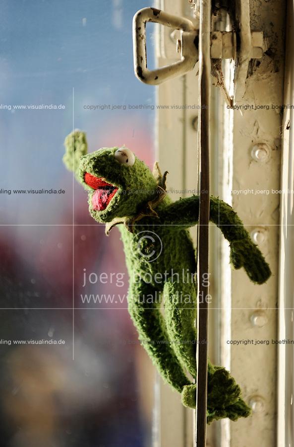 Denmark, puppet Kermit the frog in ship window