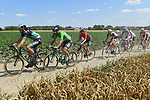 The lead group including Daniel Oss (ITA) and Green Jersey Peter Sagan (SVK) Bora-Hansgrohe in action on the cobbles during Stage 9 of the 2018 Tour de France running 156.5km from Arras Citadelle to Roubaix, France. 15th July 2018. <br /> Picture: ASO/Alex Broadway | Cyclefile<br /> All photos usage must carry mandatory copyright credit (&copy; Cyclefile | ASO/Alex Broadway)
