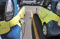 - recharge station for electric cars in Milan, Citroen of a car sharing company<br /> <br /> - stazione di ricarica per automobili elettriche a Milano, auto Citroen di una compagnia di car sharing