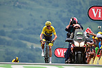 Race leader Chris Froome (GBR) Team Sky approaches the finish line at Peyragudes at the end of Stage 12 of the 104th edition of the Tour de France 2017, running 214.5km from Pau to Peyragudes, France. 13th July 2017.<br /> Picture: ASO/Pauline Ballet | Cyclefile<br /> <br /> <br /> All photos usage must carry mandatory copyright credit (&copy; Cyclefile | ASO/Pauline Ballet)