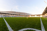 20181009 – BIEL BIENNE , SWITZERLAND : illstration picture shows the pitch of the stadium before the female soccer game between Switzerland and the Belgian Red Flames , the second leg in the semi finals play offs for qualification for the World Championship in France 2019 ; the first leg ended in equality 2-2 ;  Tuesday 9 th october 2018 at The Tissot Arena  in BIEL BIENNE , Switzerland . PHOTO SPORTPIX.BE | DAVID CATRY