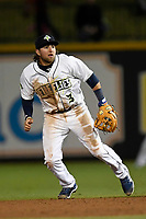 Second baseman Blake Tiberi (3) of the Columbia Fireflies plays defense in a game against the Augusta GreenJackets on Opening Day, Thursday, April 5, 2018, at Spirit Communications Park in Columbia, South Carolina. Columbia won, 4-2. (Tom Priddy/Four Seam Images)