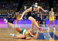 16.08.2015 Silver Ferns Katrina Grant and Australia's Kimberlee Green in action during the Silver Ferns v Australia Gold Medal netball match at the 2015 Netball World Cup at All Phones Arena in Sydney Australia. Mandatory Photo Credit ©Michael Bradley.