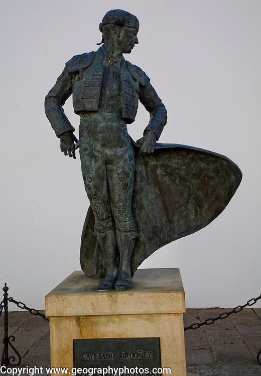 Statue of famous matador Cayetano Ordonez near the bullring in Ronda, Spain