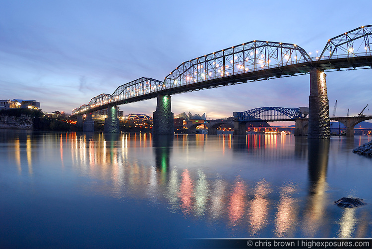 Chattanooga, TN as seen from acroos the Tennessee River at dusk.