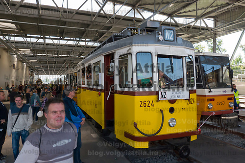 People visit the 120 year old Budafok Tram Depot of Budapest Public Transport Company BKV on a public day in Budapest, Hungary on Sept. 21, 2019. ATTILA VOLGYI