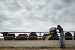 Charl Gould, a rancher near Consort, Alberta feeds his cattle. Although the proposed Energy East pipeline does not run on the Gould's ranch, they are concerned by the project and the petro state that they believe Canada has become. (Credit: Robert van Waarden - http://alongthepipeline.com)