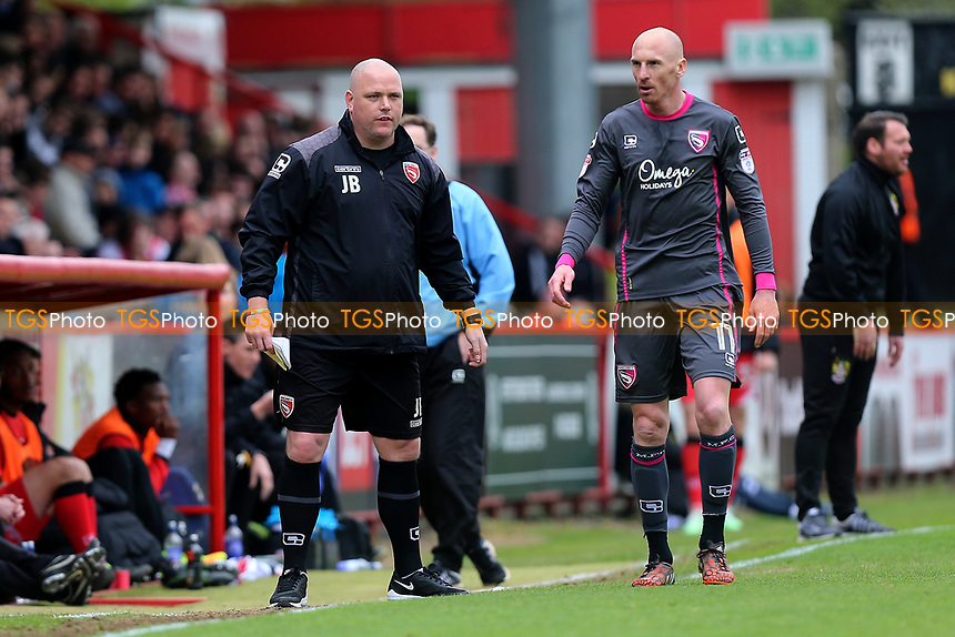 Morecambe manager Jim Bentley during Stevenage vs Morecambe, Sky Bet EFL League 2 Football at the Lamex Stadium on 14th April 2017
