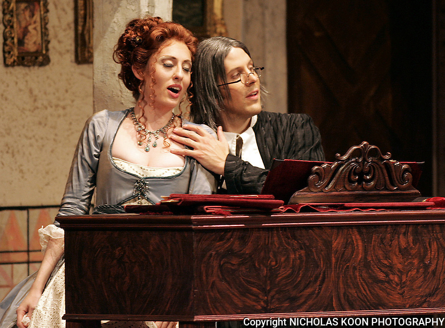 2008 - THE BARBER OF SEVILLE - Jennifer Rivera as Rosina and Brian Stucki as Count Almaviva in Opera Pacific's production of the Barber of Seville.