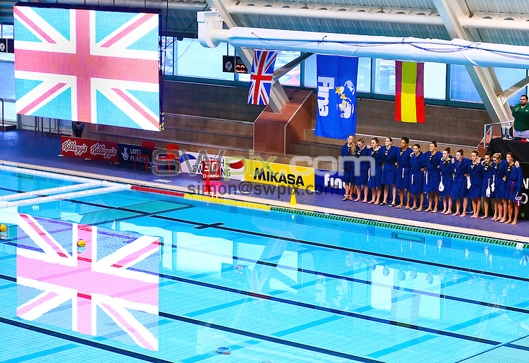 Picture by Alex Whitehead/SWpix.com - 22/04/2014 - Water Polo - FINA Women's Water Polo World League - Great Britain v Spain - Manchester Aquatics Centre, England - Great Britain line up for anthem.