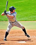 18 July 2010: Staten Island Yankees infielder Jeffrey Farnham in action against the Vermont Lake Monsters at Centennial Field in Burlington, Vermont. The Lake Monsters fell to the Yankees 9-5 in NY Penn League action. Mandatory Credit: Ed Wolfstein Photo
