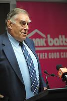 Sir Colin Meads addresses the Pink Batts Heartland Championship 2013 season launch at Waikanae RFC, Waikanae, New Zealand on Tuesday, 13 August 2013. Photo: Dave Lintott / lintottphoto.co.nz