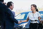 Queen Letizia of Spain say hello to President of Extremadura Guillermo Fernandez Vara during the opening of School Year in Torrejoncillo (Caceres). September 17, 2019. (ALTERPHOTOS/Francis Gonzalez)