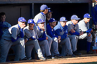 The Washington & Lee Generals watch the action against the Greensboro College Pride from the visitor's dugout at War Memorial Stadium on February 13, 2011 in Greensboro, North Carolina.  Photo by Brian Westerholt / Four Seam Images