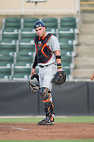 Delmarva Shorebirds catcher Austin Wynns (12) on defense against the Kannapolis Intimidators at CMC-NorthEast Stadium on July 2, 2014 in Kannapolis, North Carolina.  The Intimidators defeated the Shorebirds 6-4. (Brian Westerholt/Four Seam Images)