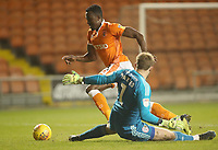 Blackpool's Joe Dodoo scores his sides second goal<br /> <br /> Photographer Rachel Holborn/CameraSport<br /> <br /> The EFL Checkatrade Trophy Group C - Blackpool v Accrington Stanley - Tuesday 13th November 2018 - Bloomfield Road - Blackpool<br />  <br /> World Copyright © 2018 CameraSport. All rights reserved. 43 Linden Ave. Countesthorpe. Leicester. England. LE8 5PG - Tel: +44 (0) 116 277 4147 - admin@camerasport.com - www.camerasport.com