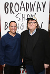 Director Director Michael Mayer with Michael Moore as he announces he will make his Broadway debut with 'The Terms of My Surrender' at Sardi's on May 1, 2017 in New York City.