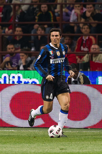02.04.2011 Alexandre Pato scores two and Antonio Cassano converts a penalty against Inter in what could potentially be a title deciding result. Picture shows Javier Zanetti.