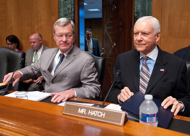 "UNITED STATES - JUNE 28: Chairman Max Baucus, D-Mont., left, and Sen. Orrin Hatch, R-Utah, arrive for the Senate Finance Committee hearing on ""Complexity and the Tax Gap: Making Tax Compliance Easier and Collecting What's Due"" on Tuesday, June 28, 2011. (Photo By Bill Clark/Roll Call)"