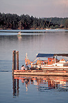 San Juan Islands, Stuart Island, Washington State Marine Park, San Juan Islands, Puget Sound, Washington State, Sailboat at dock, family plus cat in sunset,