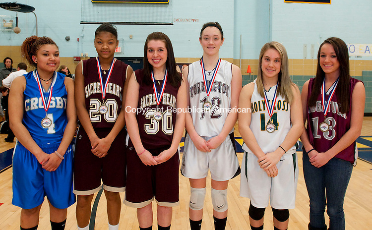 WATERBURY, CT, 21 FEBRUARY 2011-022111JS21--Member of the All-Copper Girls Basketball Team are, from left, Janelle Johnson-Crosby; Mikyla Jacobs-Sacred Heart; Jen Massicotte-Sacred Heart; Taylor Chirstiano-Torrington; Angelica Ariola-Holy Cross and Lauren Piroscafo-Naugatuck.<br /> Jim Shannon/Republican-American
