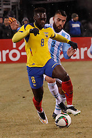 Ecuador soccer player Felipe Caicedo fights for the ball during a friendly match between Argentina and Ecuador in New Jersey. 03.31.2015. Kena Betancur / VIEWpress.