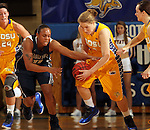 BROOKINGS, SD - NOVEMBER 15:  Chynna Stevens #0 from South Dakota State University takes the ball from Andrea White #11 from Georgetown in the first half of their game Friday night at Frost Arena. (Photo by Dave Eggen/Inertia)